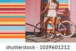 Small photo of Hipster with bicycle. Girl with light pink bicycle. Woman is standing near pink wall and colorful roller shutters. Urban style. Sport girl. Summer time. Lifestyle. Bright colors. Urban blogger.