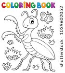 coloring book praying mantis... | Shutterstock .eps vector #1039602052
