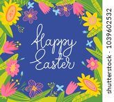 cute vector card with easter... | Shutterstock .eps vector #1039602532