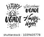 happy ugadi handwritten...   Shutterstock .eps vector #1039605778