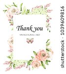floral frame with pink roses... | Shutterstock . vector #1039609816
