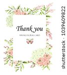 floral frame with pink roses... | Shutterstock . vector #1039609822