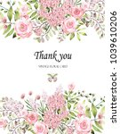 floral frame with pink roses... | Shutterstock . vector #1039610206