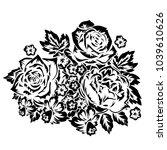 bouquet of flowers monochrome... | Shutterstock .eps vector #1039610626