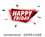 happy friday  sign with red... | Shutterstock .eps vector #1039611568