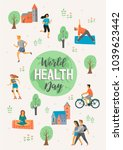 world health day. healthy... | Shutterstock .eps vector #1039623442