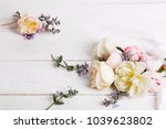 Stock photo festive flower english rose composition on the white background 1039623802