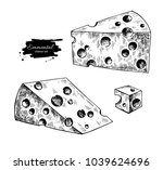 emmental cheese drawing. hand... | Shutterstock . vector #1039624696