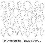 oak leaves silhouettes set... | Shutterstock .eps vector #1039624972