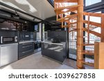 modern kitchen and wooden... | Shutterstock . vector #1039627858