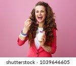 pink mood. portrait of smiling...   Shutterstock . vector #1039646605