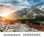 mountain landscape on the... | Shutterstock . vector #1039652692