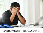 stressed businessman is failing ... | Shutterstock . vector #1039657918