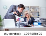 angry irate boss yelling and...   Shutterstock . vector #1039658602