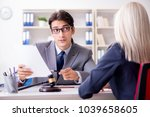lawyer discussing legal case... | Shutterstock . vector #1039658605