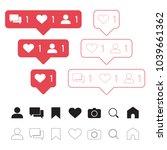 set of social media icons  like ... | Shutterstock .eps vector #1039661362