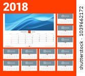wall calendar template for 2018 ... | Shutterstock .eps vector #1039662172
