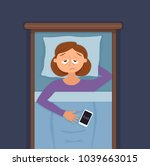 sleepless woman face cartoon... | Shutterstock .eps vector #1039663015