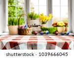 table clothe of red and white... | Shutterstock . vector #1039666045