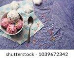 homemade strawberry and vanilla ... | Shutterstock . vector #1039672342