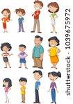 colorful happy people. cartoon... | Shutterstock .eps vector #1039675972