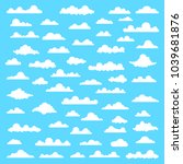 collection of stylized cloud... | Shutterstock .eps vector #1039681876