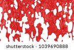 red paint flows down. 3d...   Shutterstock . vector #1039690888