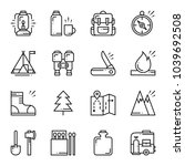 hiking and camping line icons... | Shutterstock .eps vector #1039692508