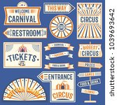 circus labels carnival show... | Shutterstock .eps vector #1039693642