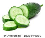 cucumber and slices isolated on ... | Shutterstock . vector #1039694092