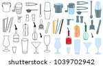 set of barman accessories... | Shutterstock .eps vector #1039702942