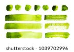 green watercolor strokes and... | Shutterstock . vector #1039702996