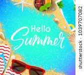 hello summer card template. top ... | Shutterstock .eps vector #1039707082