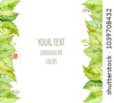 watercolor frame with green... | Shutterstock . vector #1039708432