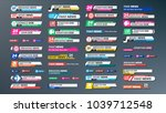tv news bars set. streaming... | Shutterstock . vector #1039712548