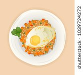 indonesian fried rice with... | Shutterstock .eps vector #1039724272
