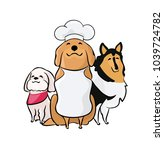 cartoon dogs drawing with chef... | Shutterstock .eps vector #1039724782