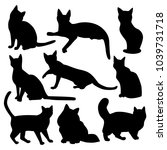Stock vector vector silhouettes of cats with short and long hair isolated on white background 1039731718