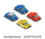 color cars in isometric 3d view | Shutterstock .eps vector #1039742155