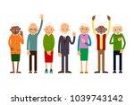 group of gesticulating elderly... | Shutterstock . vector #1039743142