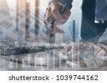 stock market analyzing ... | Shutterstock . vector #1039744162