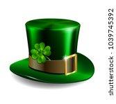 green leprechaun hat with... | Shutterstock .eps vector #1039745392