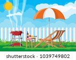 bbq party. sun lounger  table... | Shutterstock .eps vector #1039749802