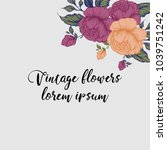 hand drawing peonies. vector... | Shutterstock .eps vector #1039751242