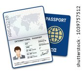 international female passport... | Shutterstock .eps vector #1039757512
