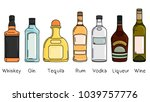 set of bottles with alcohol ... | Shutterstock .eps vector #1039757776