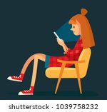young girl chatting online   Shutterstock .eps vector #1039758232