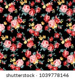 rose floral pattern with little ...   Shutterstock . vector #1039778146
