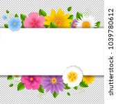 card with flowers white... | Shutterstock .eps vector #1039780612