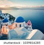 sunny morning view of santorini ... | Shutterstock . vector #1039816285